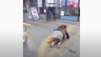 صورة بالفيديو.. شاب يركل سيدة ويسقطها أرضا خارج حافلة