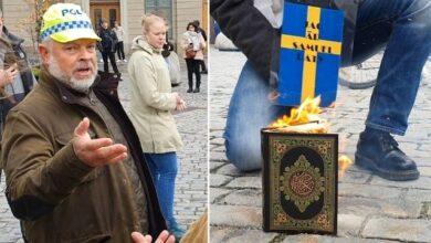 صورة إحراق نسخة من القرآن أمام مبنى الحكومة السويدية
